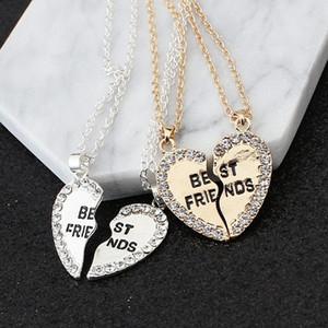 Мода два лепестка сердца кристалл лучший друг ожерелье хороший друг ожерелье дружба кулон ожерелье оптом бесплатная доставка