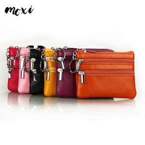 Toptan Satış - Moxi Hakiki Deri Para Cebi 11 Şeker Renk Anahtar Tutucu 3 Fermuar Kadın Değişim Cüzdan İş Mini Çanta Bayanlar Coin Purse