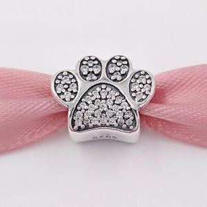 Autentico Argento 925 Perle Pavé Paw fascino Adatto monili europei di stile Pandora collana dei braccialetti 791714CZ Animal Cat cristallo