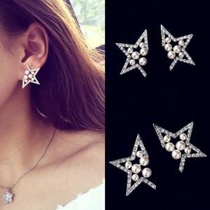 Senhoras pérola diamantes escavados brincos de cinco pontas da estrela brincos atacado frete grátis