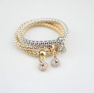 Set de 3 piezas conjunto de pulsera de cadena de maíz Shambhala Ball conjunto de pulsera de ancho oro rhinestone adornado de oro / plata / Rosegold