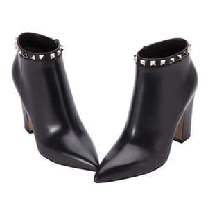 Marque de mode à talons hauts bottes pour femmes laine vache en cuir rivet cheville bottillons 85 MM talon Chunky dames chaussures occasionnelles bout pointu SZ35-40