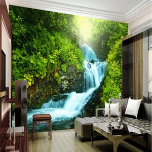 Wholesale-Custom Nature wallpaper 3D stereoscopic 3D photo wall living room backdrop room Waterfalls Nature Landscape wallpaper (2)