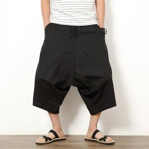 Wholesale- Sommer-Männer japanischen Samurai Boho Sommer Harem Shorts Hakama Leinen-Baumwollhosen 5 Farben Fit lose kurze Hosen Big Size