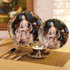 Set de vajilla Bonechina de 8 piezas con platos, platos de ensalada, cuchillo de cena, tenedor para cenar, taza de té, platillo, cuchara de café, cuchara de cena