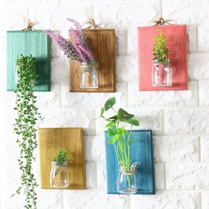 1 pc Verre Suspendu Pot Plantation D'eau Pot De Fleurs Transparent Vase En Verre avec Coloré En Bois Décoration Conseil Home Decor Planteur Vase 83