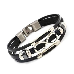Натуральная кожа бесконечность браслет 8 Wrap браслеты браслет манжеты для женщин мужчины ювелирные изделия Рождественский подарок Drop доставка