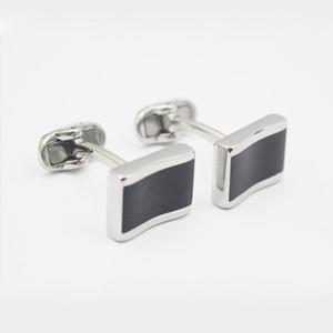 High-Grade Rectangle Cufflinks Men's Shirt Cuff Jewelry Custom Black Enamel Cufflinks Wedding Business Shirt Accessory gemelos