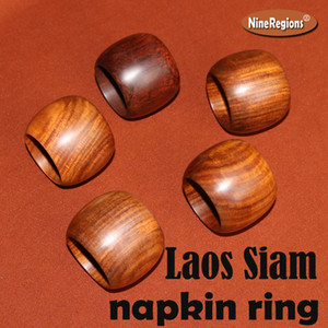 5pcs Wood dinner table decor parties Accessories Home Decor craft polishing Authentic Natural Laos Siam rosewood Napkin Ring