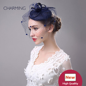 sombreros de novia velos clips partido del pelo del cordón de la cinta del sombrero de la boda de gasa flor de la pluma Mini sombrero de copa fascinador de tapas Nupcial Accesorios