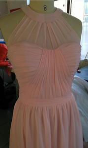 5 abiti da damigella in chiffon country lunghi economici con stili misti Abiti da cerimonia per matrimoni da damigella d'onore junior stile light pink convertibile