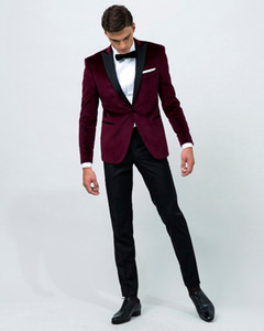 Airtailors vintage Velvet Wine Red Peak Risvolto smoking / abito da sposa per uomo / Groom wear custom made (giacca + pantaloni + fiocco)