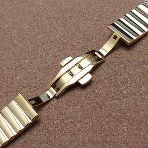 18 mm 20 mm 22 mm 24 mm correa de reloj de malla de acero inoxidable con doblez hebilla de mariposa desplegable correa de reloj de oro pulsera elegante nuevo