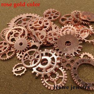 Mixed 100g steampunk engrenages et pignons horloge mains Charm rose or Fit Bracelets Collier DIY Fabrication de bijoux en métal