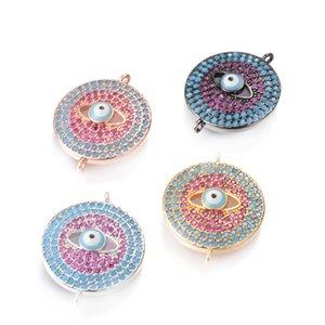 Mode türkischen Stil Micro Pave Türkis und CZ Evil Eye Connector Perlen passen Armband Halskette machen 4 Farbe, ICSP137, Size22.5 * 18mm