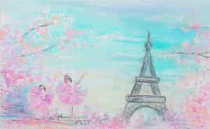 Paris Eiffelturm Fotografie Backdrops Vinyl gedruckt Dream Petals Baby Neugeborene Foto Prop Kids Kinder fotografischen Hintergrund für Studio