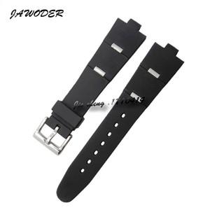 Jawoder Armband 22 24mm x 8mm Männer Frauen Schwarz Tauchen Silikon Gummi Uhr Band Edelstahl Silber Stift Schnalle Strap