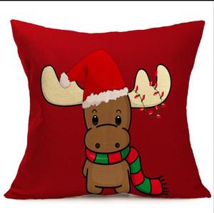 caso Novo Design Linho de Natal Pillow Papai Noel fronha Snowman única capa de almofada 43 centímetros * 43 centímetros 8style pode escolher Início Sofá caso