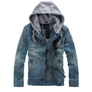 Casual Denim Jacket Men 2017 Nuevo Tamaño grande M-5XL Slim Retro Motocicleta Denim Coat Monochromatic Hood Gentlemen Jeans Chaquetas