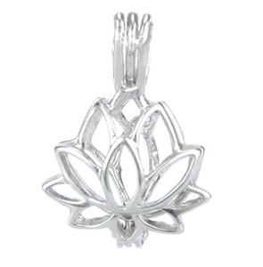 925 الفضة المنجد قفص ، لوتس الشكل حبات اللؤلؤ جوهرة قفص قلادة ، يمكن فتح فضة قلادة تصاعد تركيب مجوهرات ديي