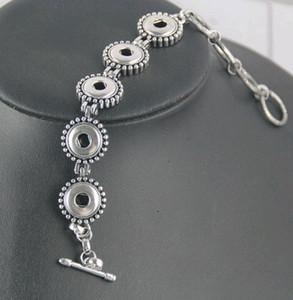 Nuovi gioielli placcati argento antico Moda Donna Noosa Chunks 5 Snap Toggle-clasps Alloy Charm Bracelet Fit 12mm DIY Snap Button