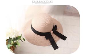 Corea del sombrero de la manera de la vendimia de señora Summer ancho a lo largo del arco de parasol de playa sombrero de paja del casquillo Mujer dulces de colores señora sombreros de Sun