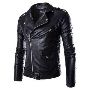 All'ingrosso- Uomini Giacca in pelle PU Primavera Autunno New Fashion British Style Uomini Giacca in pelle Giacca moto Cappotto maschile Nero Marrone M-3XL