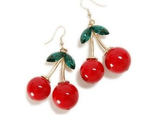 Frozen Cherry Dangle pendientes Lovely Red Fruit Ear Stud Crystal Rhinestone Fashion Charm Earrings