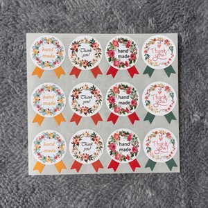Wholesale-Free Shipping 120pcs Hand Made Thank You Garland Seal Sticker Baking Package