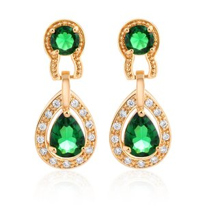 Bianco / verde / rosso 18K oro giallo placcato cubic zirconia diamante donne squisite orecchini gioielli da sposa per donne / signora