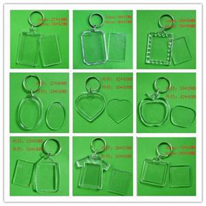 DIY 빈 사진 열쇠 고리 투명 아크릴 열쇠 고리 삽입 사진 플라스틱 열쇠 고리, 500pcs 무료 DHL / 페덱스