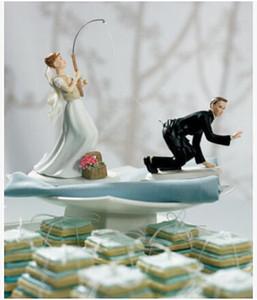 Toptan-2015 Ücretsiz Kargo Popüler Düğün Pastası Topper Kişiselleştirilmiş kek Topper balıkçılık gölet Düğün Favor ve Dekorasyon