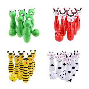 Булавки деревянный шар для боулинга небольшой сетчатый мешок мультфильм животных форма игры для детей Детские игрушки 4 цвета дополнительно 10wp F