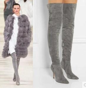 2017 femmes cuisse haute bottes leggings style dames chaussures de soirée robe bottillons grand gladiateur sur genou haut botas pointu orteil