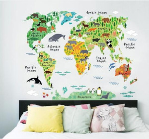 world map animals wall stickers room decorations cartoon mural art zoo children home decals posters