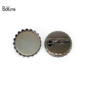 BoYuTe (20 pieces / Lot) 20MM 25MM Round Cabochon Brooch 기본 설정 도매 6 색 도금 Diy 쥬얼리 만들기