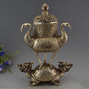 Chine Vieux Argent support Phoenix Dragon Tortue Tortue Encens Encensoir