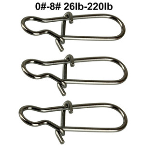 100pcs Duo Lock Snaps Taille 0 # -8 # Noir Belle Snap Pivotant Glissé Anneaux En Acier Inoxydable USA Pêche Accessoires Kit - Test: 26LB-220LB