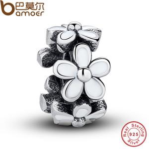 Pandora Style 925 Sterling Silver White Email Charms Fit pour Pandora Style Bracelet Belle Daisy Européenne Spacer Perles Cadeau Chaud