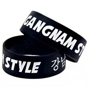 50PCS Negro Tamaño adulto de 1 pulgada de ancho Gangnam Style de Psy pulsera de silicona Canción Rap Regalo de la música