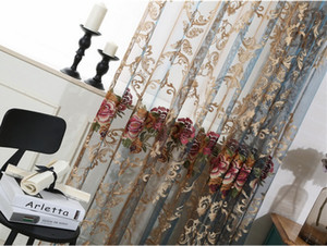얇은 커튼 우아한 꽃 수 놓은 얇은 막대 포켓 커튼 패널 홈 장식 커튼 Voile 커튼 침실 용 얇은 커튼