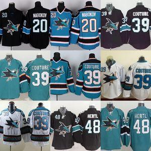 Factory Outlet Men's San Jose Sharks # 20 Nabokov # 39 Logan Couture # 48 Tomas Hertl Noir Vert Blanc Meilleurs maillots de hockey sur glace livraison gratuite