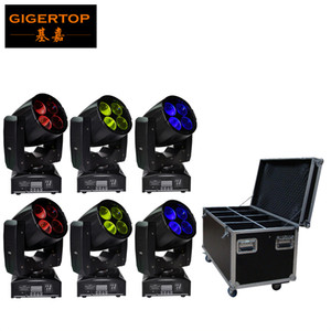 Flight Case Packing 6XLOT Mini Simple Led Super Beam Moving Head Light 4*10W White Color Leds Unlimited Rotate 3 Color Wheel