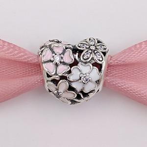 Authentic 925 Sterling Silver Beads Poetic Flores encanto único estilo europeu jóia de Pandora pulseiras Colar 791825ENMX