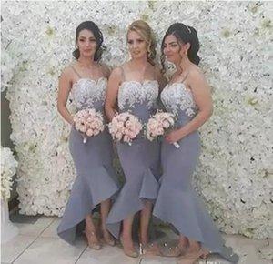 Chic Hi-Lo Gelinlik Modelleri Düğün 2017 Spagetti Kayışı Beyaz Dantel Mermaid Parti Elbiseler Fermuar Geri Ülke Onur Hizmetçi törenlerinde