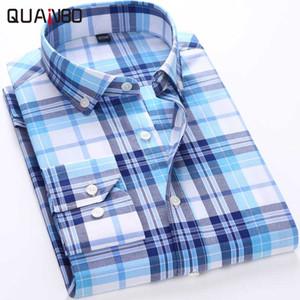 Commercio all'ingrosso- QUANBO 2017 primavera nuovi uomini plaid a maniche lunghe camicie casual di alta qualità slim fit uomo d'affari camicia di moda M-5XL