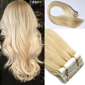 En çok satan remy İnsan saç uzantıları 20 adet PU cilt atkı bant saç uzantıları Sliky Düz ücretsiz kargo # 613 Bleach Blonde