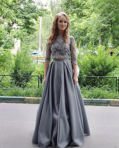 2017 New High Neck Grey Two Pieces A Line Evening Dresses Elegant Half Long Sleeves Floor Length Formal Prom Party Gowns