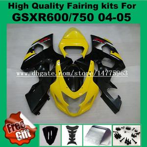 Обтекатель впрыска для SUZUKI GSXR600 GSXR750 2004 2005 GSX-R600 GSX-R750 04 05 GSXR 600 750 04 05 обтекатели комплект желтый черный #729LL 9Gifts