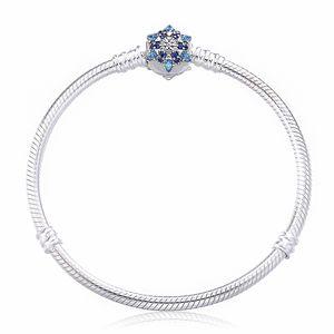 2017 Trendy 925 Sterling Silver Snake Chain Bracciale con pietra colorata chiusura Silver Snowflake Bracciale per le donne gioielli fai da te